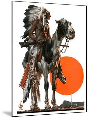 """Indian Sunset,""March 17, 1923-Joseph Christian Leyendecker-Mounted Giclee Print"