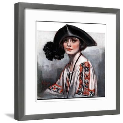 """Woman in Embroidered Blouse,""May 5, 1923-Neysa Mcmein-Framed Giclee Print"