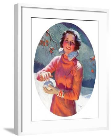 """""""Woman Forming a Snowball,""""February 10, 1934-Frederic Mizen-Framed Giclee Print"""