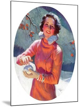 """""""Woman Forming a Snowball,""""February 10, 1934-Frederic Mizen-Mounted Giclee Print"""