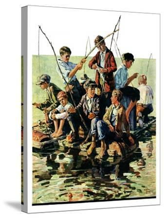 """""""Raft Fishing,""""July 30, 1927-Eugene Iverd-Stretched Canvas Print"""