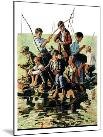 """Raft Fishing,""July 30, 1927-Eugene Iverd-Mounted Giclee Print"