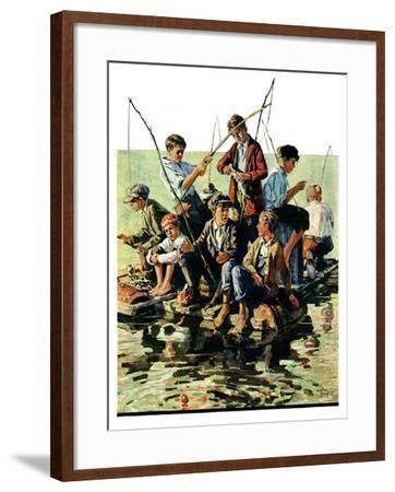 """""""Raft Fishing,""""July 30, 1927-Eugene Iverd-Framed Giclee Print"""