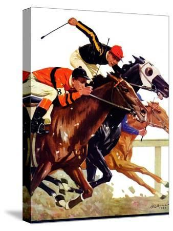 """""""Thoroughbred Race,""""August 4, 1934-Maurice Bower-Stretched Canvas Print"""