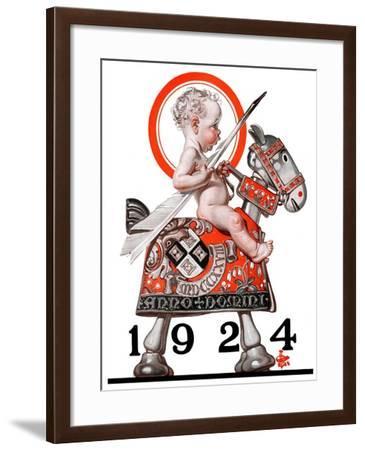 """Sir Baby New Year,""December 29, 1923-Joseph Christian Leyendecker-Framed Giclee Print"