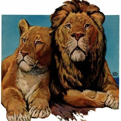"""Lion Couple,""March 19, 1932-Lynn Bogue Hunt-Framed Giclee Print"