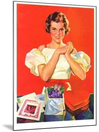 """""""Valentine's Gifts,""""February 16, 1935-F. Sands Brunner-Mounted Giclee Print"""