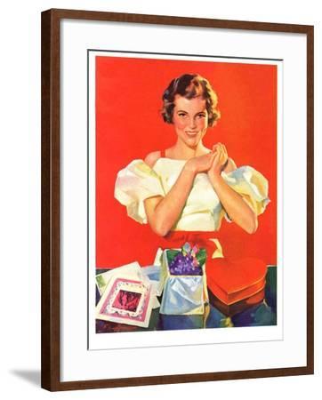 """""""Valentine's Gifts,""""February 16, 1935-F. Sands Brunner-Framed Giclee Print"""