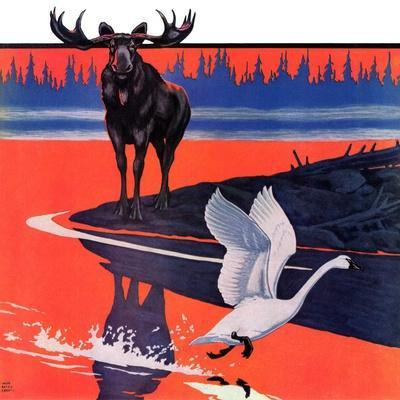 """""""Moose and White Goose,""""March 23, 1935-Jacob Bates Abbott-Framed Giclee Print"""