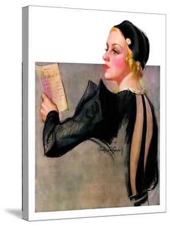 """""""Woman at the Theater,""""April 13, 1935-Bradshaw Crandall-Stretched Canvas Print"""