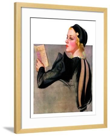 """""""Woman at the Theater,""""April 13, 1935-Bradshaw Crandall-Framed Giclee Print"""