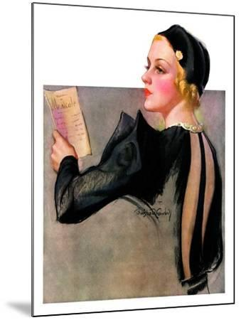 """""""Woman at the Theater,""""April 13, 1935-Bradshaw Crandall-Mounted Giclee Print"""
