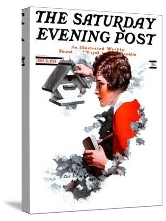 """""""Birdhouse,"""" Saturday Evening Post Cover, June 21, 1924-Charles A. MacLellan-Stretched Canvas Print"""