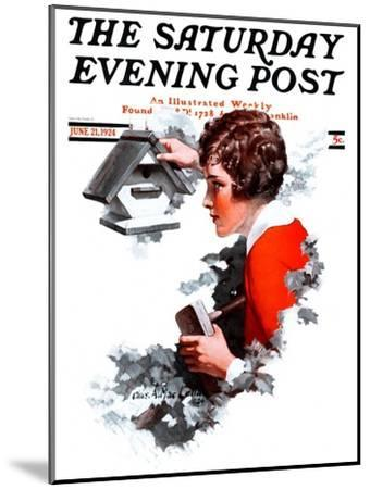 """""""Birdhouse,"""" Saturday Evening Post Cover, June 21, 1924-Charles A. MacLellan-Mounted Giclee Print"""
