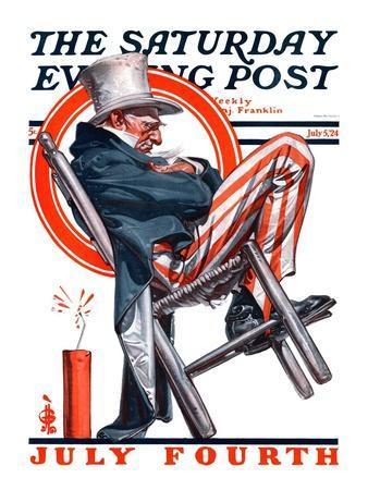"""Sleeping Uncle Sam,"" Saturday Evening Post Cover, July 5, 1924-Joseph Christian Leyendecker-Framed Giclee Print"