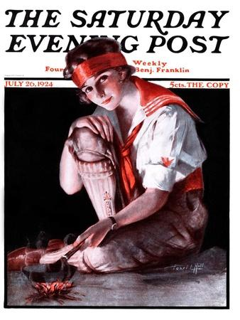 """""""Campfire Girl,"""" Saturday Evening Post Cover, July 26, 1924-Pearl L^ Hill-Framed Giclee Print"""