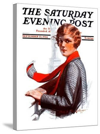 """""""Staten Island Ferry,"""" Saturday Evening Post Cover, September 13, 1924-Charles A. MacLellan-Stretched Canvas Print"""