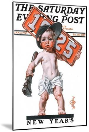 """""""Industrial New Years Baby with License Plate,"""" Saturday Evening Post Cover, January 3, 1925-Joseph Christian Leyendecker-Mounted Giclee Print"""