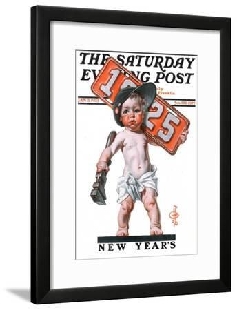 """""""Industrial New Years Baby with License Plate,"""" Saturday Evening Post Cover, January 3, 1925-Joseph Christian Leyendecker-Framed Giclee Print"""