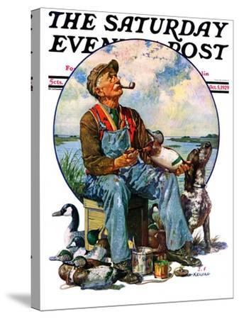 """""""Decoys,"""" Saturday Evening Post Cover, October 5, 1929-J^F^ Kernan-Stretched Canvas Print"""