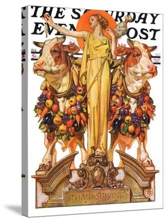 """""""Ceres and the Harvest,"""" Saturday Evening Post Cover, November 23, 1929-Joseph Christian Leyendecker-Stretched Canvas Print"""