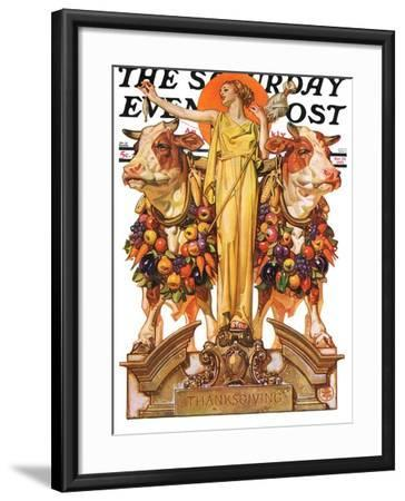 """Ceres and the Harvest,"" Saturday Evening Post Cover, November 23, 1929-Joseph Christian Leyendecker-Framed Giclee Print"