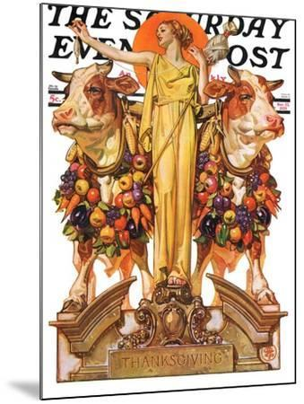 """""""Ceres and the Harvest,"""" Saturday Evening Post Cover, November 23, 1929-Joseph Christian Leyendecker-Mounted Giclee Print"""