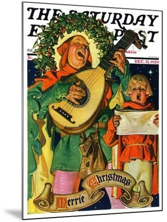 """Christmas Minstrels,"" Saturday Evening Post Cover, December 21, 1929-Joseph Christian Leyendecker-Mounted Giclee Print"