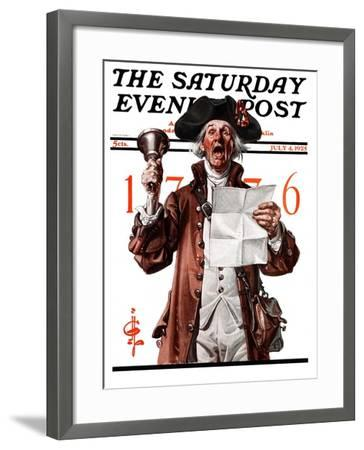 """Town Crier,"" Saturday Evening Post Cover, July 4, 1925-Joseph Christian Leyendecker-Framed Giclee Print"