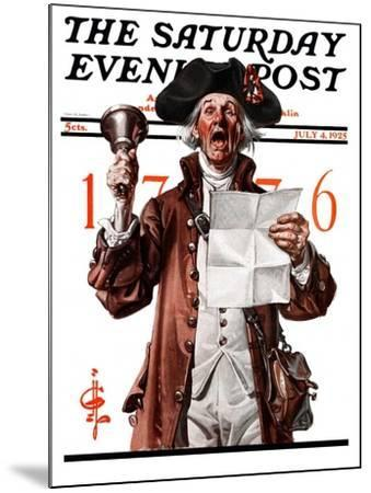 """Town Crier,"" Saturday Evening Post Cover, July 4, 1925-Joseph Christian Leyendecker-Mounted Giclee Print"