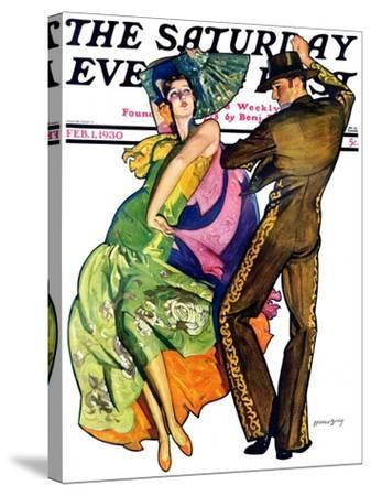 """""""The Flamenco,"""" Saturday Evening Post Cover, February 1, 1930-McClelland Barclay-Stretched Canvas Print"""