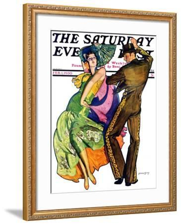 """""""The Flamenco,"""" Saturday Evening Post Cover, February 1, 1930-McClelland Barclay-Framed Giclee Print"""