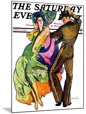 """""""The Flamenco,"""" Saturday Evening Post Cover, February 1, 1930-McClelland Barclay-Mounted Giclee Print"""