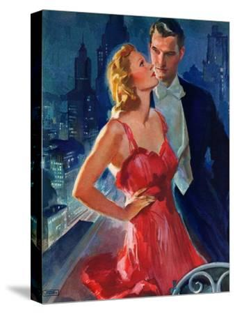 """""""Formal Couple on Balcony,""""July 30, 1938-John LaGatta-Stretched Canvas Print"""