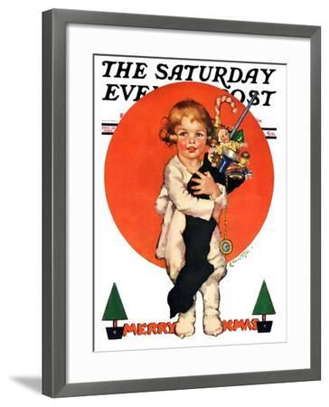 """""""Giant Christmas Stocking,"""" Saturday Evening Post Cover, December 18, 1926-Ellen Pyle-Framed Giclee Print"""