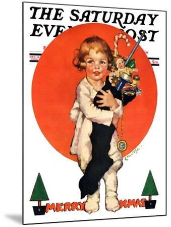 """""""Giant Christmas Stocking,"""" Saturday Evening Post Cover, December 18, 1926-Ellen Pyle-Mounted Giclee Print"""