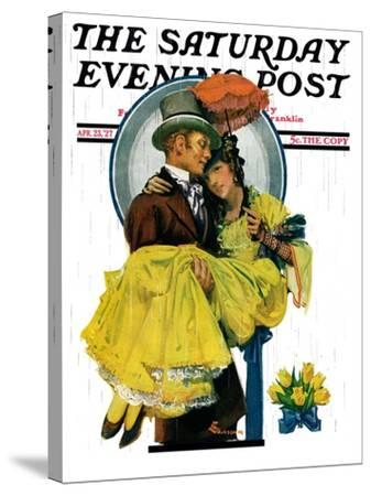 """April Shower,"" Saturday Evening Post Cover, April 23, 1927-Elbert Mcgran Jackson-Stretched Canvas Print"