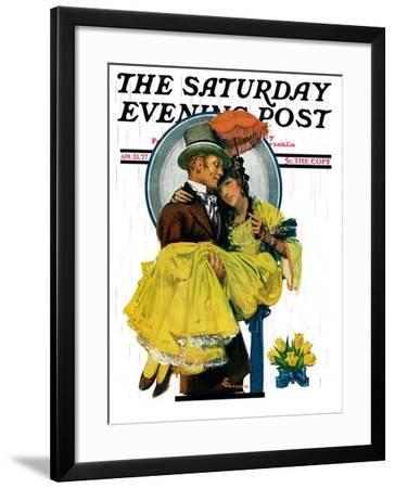 """April Shower,"" Saturday Evening Post Cover, April 23, 1927-Elbert Mcgran Jackson-Framed Giclee Print"