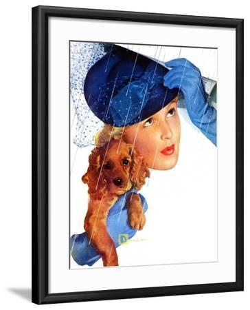 """""""Woman in Rain with Cocker,""""April 8, 1939-Douglas Crockwell-Framed Giclee Print"""