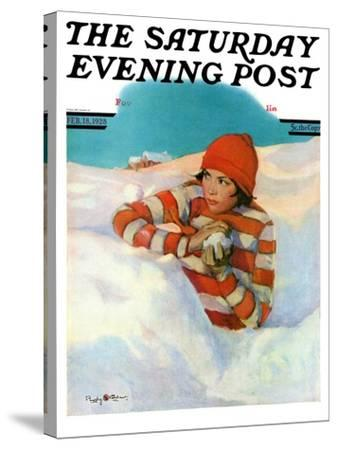 """""""Snowball Fight,"""" Saturday Evening Post Cover, February 18, 1928-Penrhyn Stanlaws-Stretched Canvas Print"""