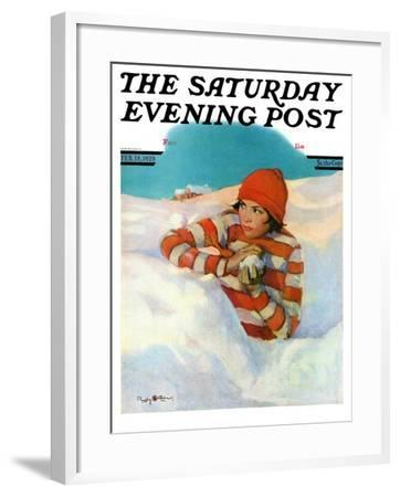 """""""Snowball Fight,"""" Saturday Evening Post Cover, February 18, 1928-Penrhyn Stanlaws-Framed Giclee Print"""