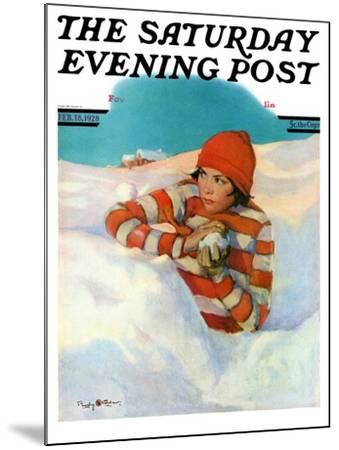 """""""Snowball Fight,"""" Saturday Evening Post Cover, February 18, 1928-Penrhyn Stanlaws-Mounted Giclee Print"""