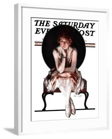 """Waiting,"" Saturday Evening Post Cover, April 14, 1923-Pearl L^ Hill-Framed Giclee Print"