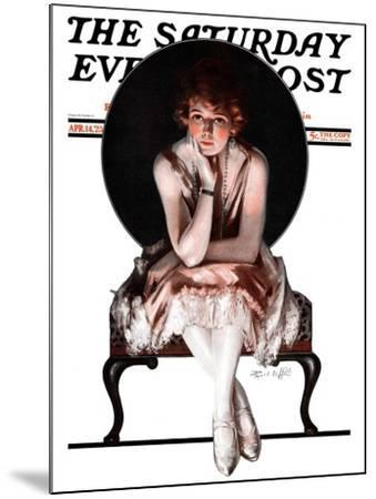 """Waiting,"" Saturday Evening Post Cover, April 14, 1923-Pearl L^ Hill-Mounted Giclee Print"