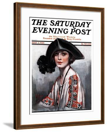"""""""Woman in Embroidered Blouse,"""" Saturday Evening Post Cover, May 5, 1923-Neysa Mcmein-Framed Giclee Print"""