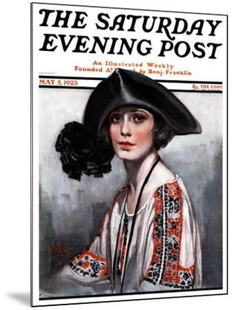 """""""Woman in Embroidered Blouse,"""" Saturday Evening Post Cover, May 5, 1923-Neysa Mcmein-Mounted Giclee Print"""