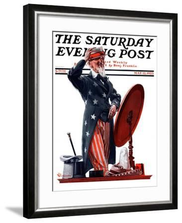 """""""New Hat for Uncle Sam,"""" Saturday Evening Post Cover, May 12, 1923-Elbert Mcgran Jackson-Framed Giclee Print"""