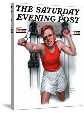 """""""Readying for Rematch,"""" Saturday Evening Post Cover, June 9, 1923-Leslie Thrasher-Stretched Canvas Print"""