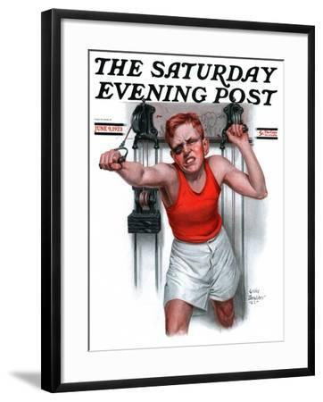 """""""Readying for Rematch,"""" Saturday Evening Post Cover, June 9, 1923-Leslie Thrasher-Framed Giclee Print"""
