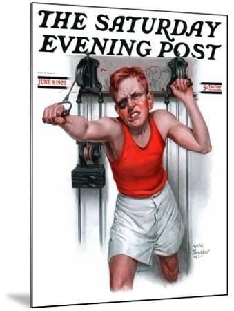 """""""Readying for Rematch,"""" Saturday Evening Post Cover, June 9, 1923-Leslie Thrasher-Mounted Giclee Print"""